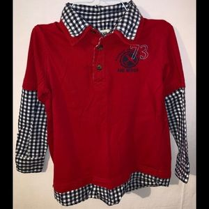 Super Cute!! 5T black checked red Shirt set